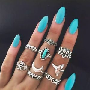 NEW 🌺 Mermaid Turquoise stone silver set of rings